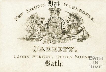 Trade Card for JARRITT 1 John Street, Queen Square, Bath
