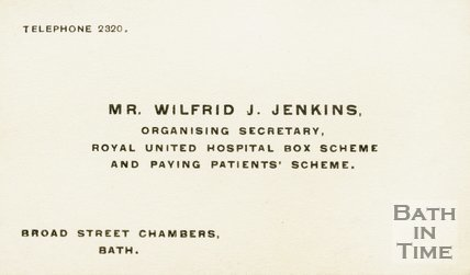 Trade Card for Wilfrid J. JENKINS Broad Street Chambers 193?