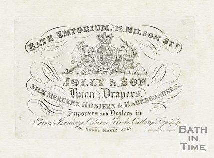 Trade Card for JOLLY & Son 12 Milsom Street, Bath 18??