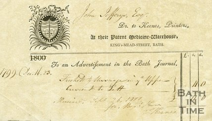 Trade Card for KEENE's Kingsmead Street, Bath 1799