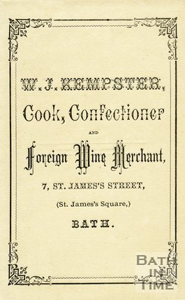 Trade Card for W. J. KEMPSTER 7 St James Street, St. James's Square, Bath 18??