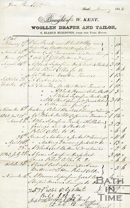 Trade Card for W. KENT 6 Bladud Buildings, near the York House, Bath 1844