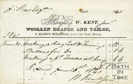 Trade Card for W. KENT 6 Bladud Buildings, near the York House, Bath 1841