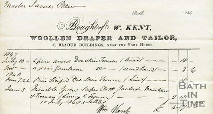 Trade Card for W. KENT 6 Bladud Buildings, near the York House, Bath 1847