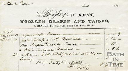 Trade Card for W. KENT 6 Bladud Buildings, near the York House, Bath 1848