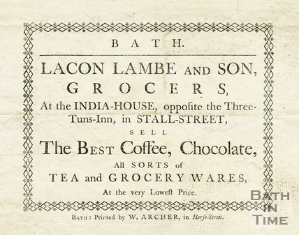 Trade Card for Lacon LAMBE and Son At the India House, Stall Street opposite 3 Tuns Inn, Bath 1768