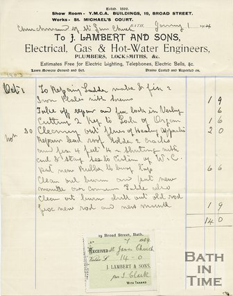 Trade Card for J. LAMBERT and Sons 19 Broad Street, Bath 1904