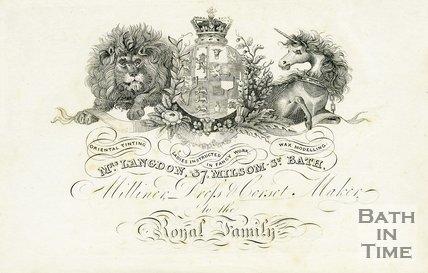 Trade Card for Mrs. LANGDON 37 Milsom Street, Bath 1824