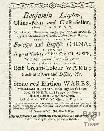 Trade Card for Benjamin LAYTON Opposite St. Michael's Church, Walcot Street, Bath 1767