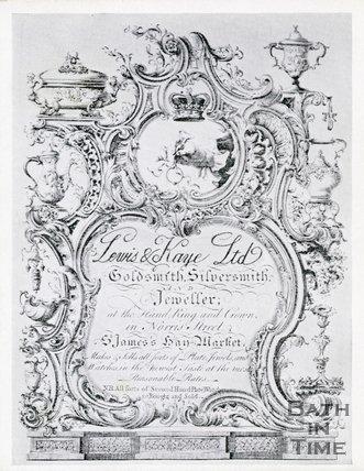 Trade Card for LEWIS & Kaye Ltd. Norris Street & St. James's, Haymarket, London 1750