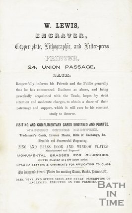 Trade Card for William LEWIS 24 Union Passage, Bath 1840s?