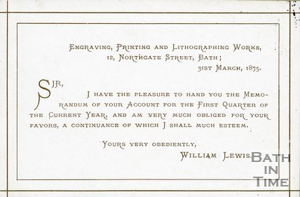 Trade Card for William LEWIS 12 Northgate Street, Bath 1875