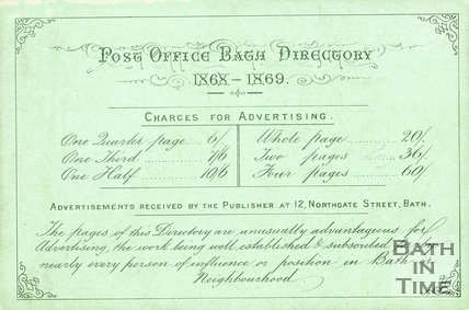 Trade Card for William LEWIS 12 Northgate Street, Bath 1868