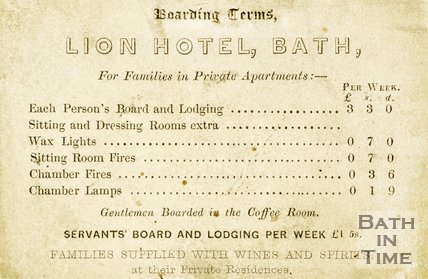 Trade Card for LION Hotel, Bath