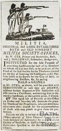 Advertisement for Bath Militia substitutes, 18 Feb 1799