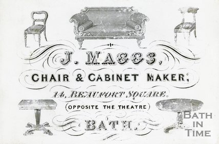 Trade Card for J. MAGGS 14 Beaufort Square, Bath 1860?