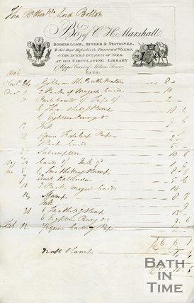 Trade Card for C. H. MARSHALL Upper Corner of Milsom Street, Bath 1806-07
