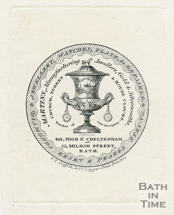 Trade Card for MARTIN's 23 Milsom Street, Bath 1824