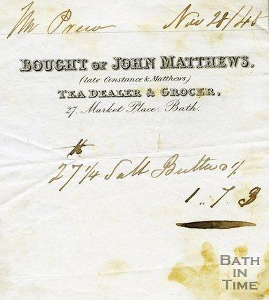 Trade Card for John MATTHEWS (late Constance & Matthews) 27 Market Place, Bath 1845