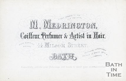 Trade Card for M. MEDRINGTON 44 Milsom Street, Bath