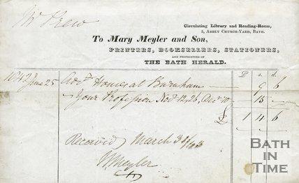Trade Card for Mary MEYLER and Son 5 Abbey Church Yard, Bath 1842
