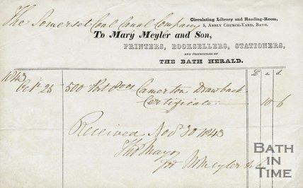 Trade Card for Mary MEYLER and Son 5 Abbey Church Yard, Bath 1843