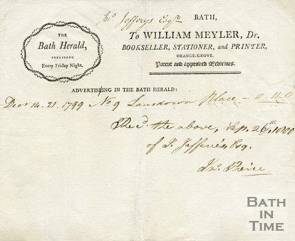 Trade Card for William MEYLER Orange Grove, Bath 1799-1800