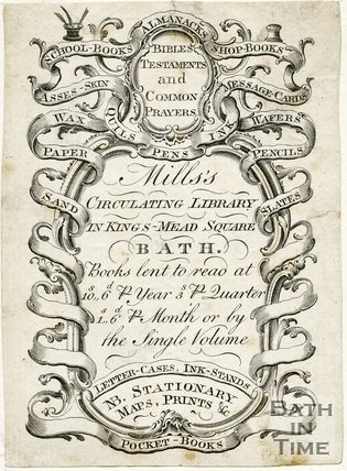 Trade Card for MILLS's Kingsmead Square, Bath 1770