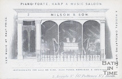 Trade Card for MILSOM and Son 2 Argyle Street, Great Pulteney Street, Bath 1850