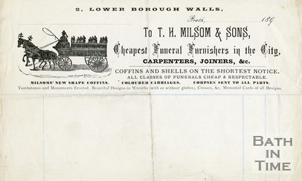 Trade Card for T. H. MILSOM & Sons 2 Lower Borough Walls, Bath 1898