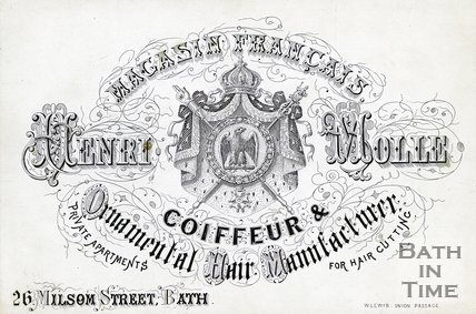 Trade Card for Henri MOLLE 26 Milsom Street, Bath 188?