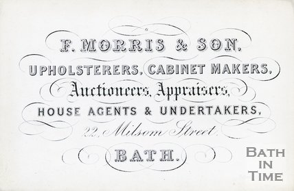 Trade Card for F. MORRIS & Son 22 Milsom Street, Bath