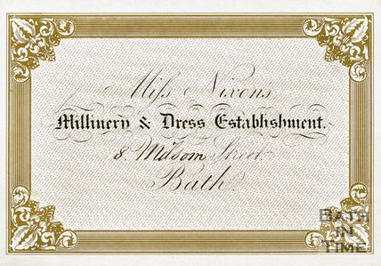 Trade Card for Miss NIXON'S 8 Milsom Street, Bath 19th century