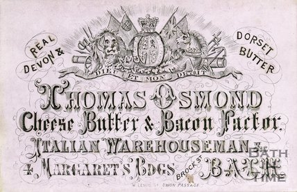 Trade Card for Thomas OSMOND 4 Margaret's Buildings, Brock Street, Bath