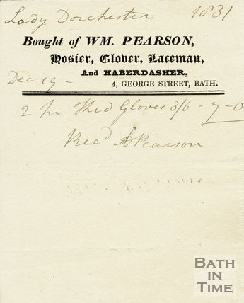 Trade Card for William PEARSON 4 George Street, Bath 1831