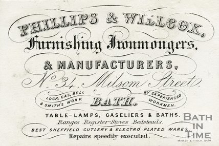 Trade Card for PHILLIPS & Willcox 34 Milsom Street, Bath 19th Century