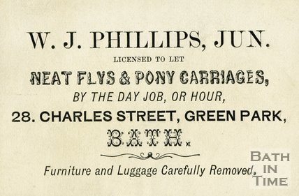 Trade Card for W. J. PHILLIPS Jun. 28 Charles Street, Green Park, Bath late C19