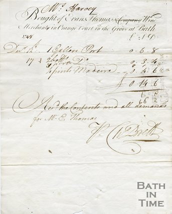 Trade Card for Evans THOMAS '& Company' scored through Orange Court in the Grove, Bath 1748