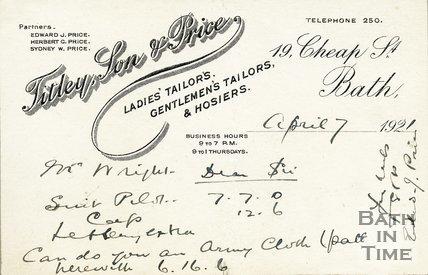 Trade Card for TITLEY, Son & Price 19 Cheap Street, Bath 1921