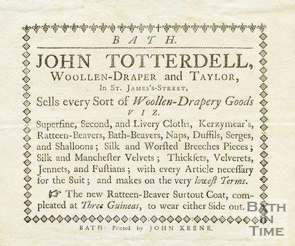 Trade Card for John TOTTERDELL St. James Street, Bath 1780