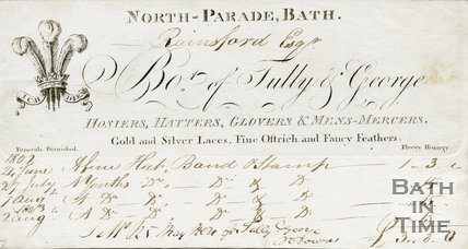 Trade Card for TULLY & George North Parade, Bath 1802