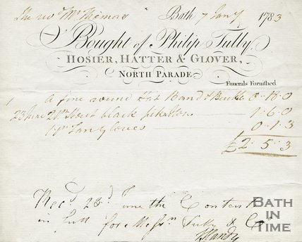 Trade Card for Phillip TULLY North Parade, Bath 1783