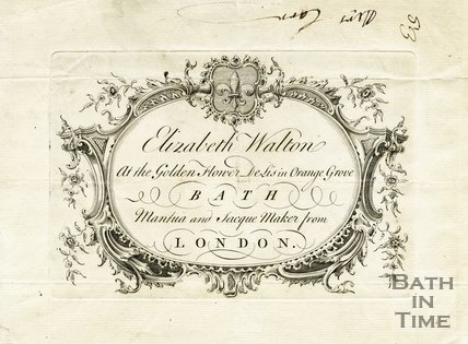 Trade Card for Elizabeth WALTON Orange Grove at the Golden Flower de Lis i.e. Fleur de Lis, Bath 1758