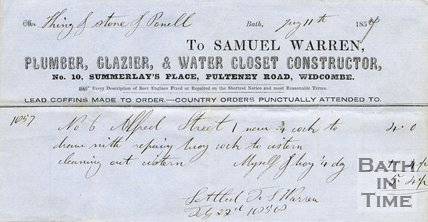 Trade Card for Samuel WARREN 10 Summerlay's Place, Pulteney Road, Bath 1857