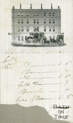 Trade Card for WHITE Lion Inn and Hotel Market Place aka High Street, Bath 1833