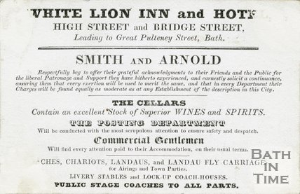 Trade Card for WHITE Lion Inn and Hotel Market Place aka High Street, Bath