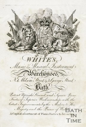 Trade Card for WHITE's 1 Milsom Street & 3 George Street, Bath 1824