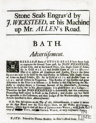 Trade Card for J. WICKSTEED Mr. Allen's Road, Bath 1741