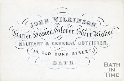 Trade Card for John WILKINSON 19 Old Bond Street, Bath