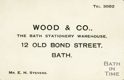 Trade Card for WOOD & Co. 12 Old Bond Street, Bath 193?